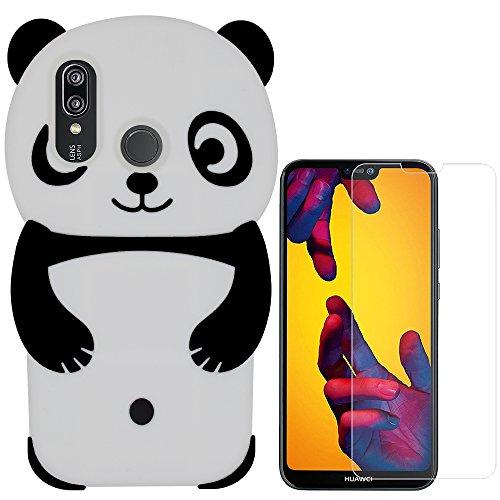 Hcheg 3D Silikon Schutzhülle Tasche für Huawei P20 Lite Hülle Panda Design Schwarz/Weiß Case Cover + 1X Screen Protector Panda-design Hard Case