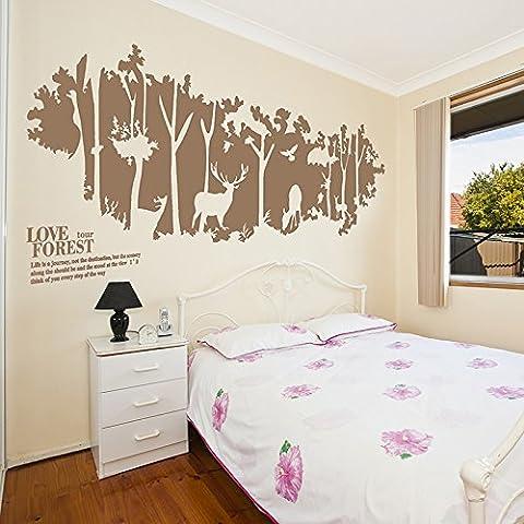 Adesivo decalcomania della parete grande foresta siluette pareti dipinte con i cervi di legno verniciati , light coffee