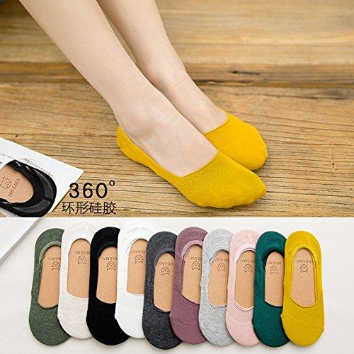 Boot socks weiblichen Baumwolle Sommer Farbe Licht - Socken schöne dünne, unsichtbare Silikon rutschfeste socken Mädchen im Sommer Code (35-39) 10-Pack 1