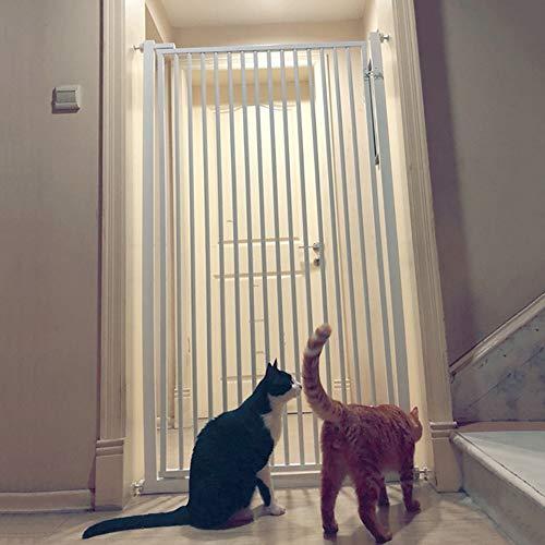 FF Türschutzgitter Tür- & Treppengitter White Metal Pet Gates mit Durchgangshundekatzentür, Wall Saver Baby Gates für Treppen Flur Tür, 91-100cm breit, 80-130cm hoch (Size : Height 90cm) (Flur Baby-gate)