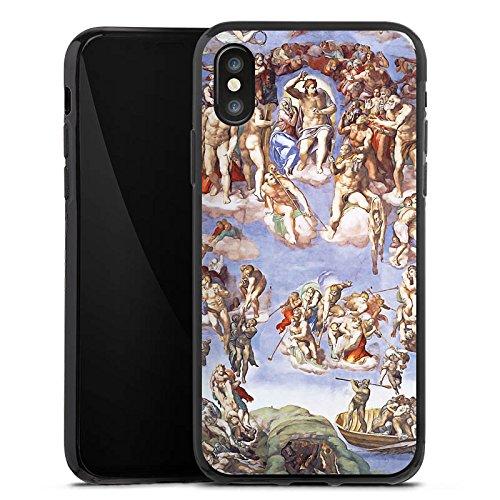 Apple iPhone X Silikon Hülle Case Schutzhülle Michelangelo Buonarroti Das jüngste Gericht Gemälde Silikon Case schwarz