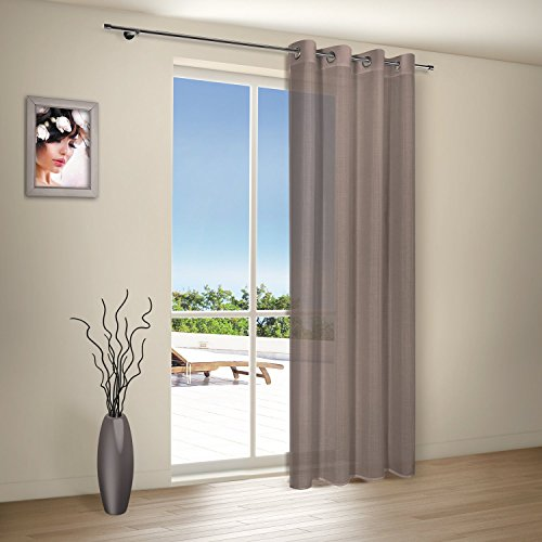 Vorhangschal / Gardine / Vorhang / Ösenschal ELLA / B/H: 140x235cm / halbtransparente Qualität / natürlicher Look / moderner Ösenschal 40mm (taupe)