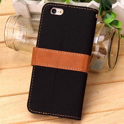 iPhone Case Cover IPhone 6S Cover, Cowboy Jeans Coton Motif Case Loisirs Mode PU Leather Case Wallet Stand Case Couverture Pour IPhone 6S 4.7 Pouces ( Color : Black , Size : IPhone 6s ) Black