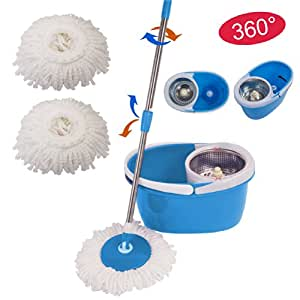 wischmop spin mop set 360 schleuder mop bodenreiniger bodenwischer blau k che. Black Bedroom Furniture Sets. Home Design Ideas