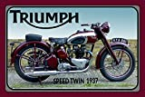 ComCard Triumph Speed Twin 1937 Motorrad, Motor Bike, Motorcycle Schild aus Blech, Metal Sign, tin