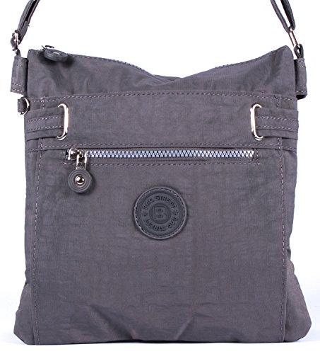sportliche Handtasche / Schultertasche / Umhängetasche aus Nylon schwarz grau