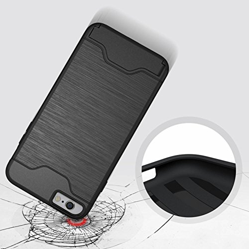 Meimeiwu 2 in 1 Dual Layer Custodia protettiva con Card Slot Holder Cover Case & Kickstand Per iphone 7 Plus - Rose Oro Nero