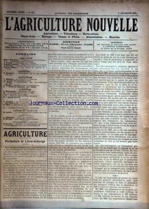 AGRICULTURE NOUVELLE (L') [No 607] du 06/12/1902 - AGRICULTURE PAR MARCHAND - GUENAUX - VACHER - TROUDE - VITICULTURE PAR BATTANCHON - HORTICULTURE PAR MOTTET - MAGNIEN - ELEVAGE PAR LATIERE - APICULTURE PAR HOMMEIL - PISCICULTURE PAR LESOURD ET ZIPEY - ALIMENTATION PAR TRITSCHIER - ENSEIGNEMENT PAR PAVETTE par Collectif