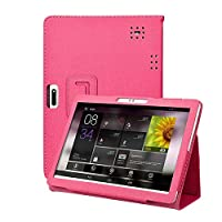 Alaojie Universal Leather Stand Cover Case for Android Tablet PC 10/10.1 Inch Rose-red