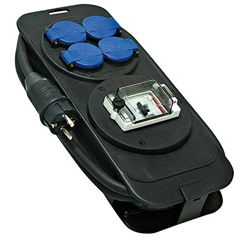 Brennenstuhl 1152301Konsole Mehrfachsteckdose mit Schutz Differenzdruck 30mA IP44+ 4Steckdosen mit Klappdeckel 2P + T 16A/230V 5M H07RN-F 3G2,5 (Differenzdruck-schalter)