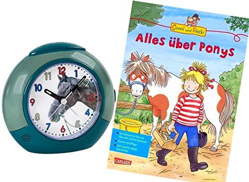 Atlanta Kinderwecker Ohne Ticken Pferde mit Lernbuch Conni Buch Alles über Ponys - 1984-6 BU