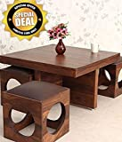 #10: Unique Furniture Sheesham Wood Coffee Table for Living Room | Center Table | with 4 Stools | Walnut Finish with Chocolate Brown Cushion