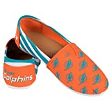 Miami Dolphins Women's NFL Slip On Canvas Stripe Shoe Slippers