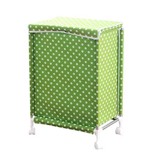 Carrito YXX Cesta Grande del cesto de la Cesta del lavadero del hogar en Las Ruedas, Cesta Sucia del almacenaje de la Ropa del lavadero Verde con la Tapa