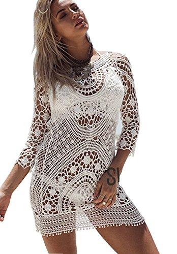 ASSKDAN Damen Boho Spitze Nackten Rücken Bikini Cover Up Strandkleid Sommerkleid One Size (One Size, Weiß)