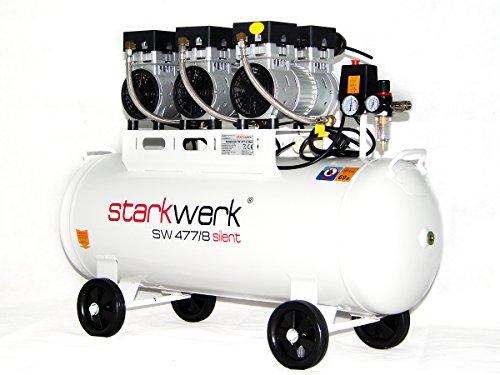 Starkwerk Silent Druckluft Kompressor SW 477/8 Ölfrei 100L Kessel Flüster Kompressor (Ps 1 Elektromotor 3)
