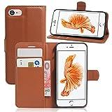 France-Technology Coque iPhone 7/8, Etui de Protection avec Fonction Stand (Tenir Debout), Portefeuille Range-Cartes, Housse iPhone 7/8 - Marron