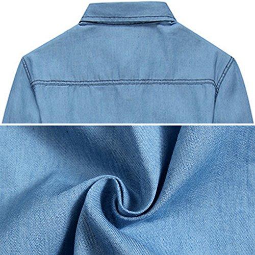 Hommes Veste en Jean Style Western Classique Trucker Veste Bleu Clair