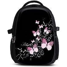 Zaino per ragazze ragazzi donne e bambini – Borsa imbottita alla moda per la scuola con tasca laptop – Spiaggia città sport - Fiori Farfalle - Zaino comodo di solido tessuto telato - Butterfly black