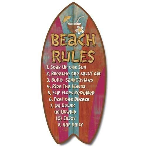 Highland Graphics Verwitterte Tropical Beach Rules Mini Surfbrett Plaque Home Décor Accent 27,9cm Highland Graphics