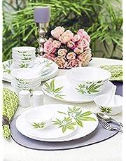 LaOpala Trinity Green Dinner Set of 47 Pcs White