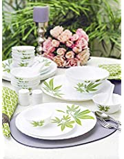 LaOpala Trinity Green Dinner Set of 24 Pcs,White