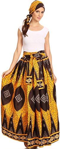 Sakkas Asma Convertible Traditionelle Wachsdruck verstellbaren Riemen Maxirock | Kleid 1132-OrangeBrown