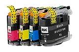 OBV Sparset 4x kompatible Tintenpatronen ersetzt Brother LC-227XL / LC-225XL schwarz cyan magenta gelb für Brother DCP-J4120DW MFC-J4420DW MFC-J4425DW MFC-J4620DW MFC-J4625DW