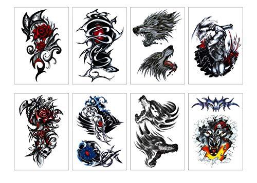 Tattoos (8-er Set) Spirit Animals, Wolf/Lion/Totem Wasserdichte Körperkunst Tattoos ()