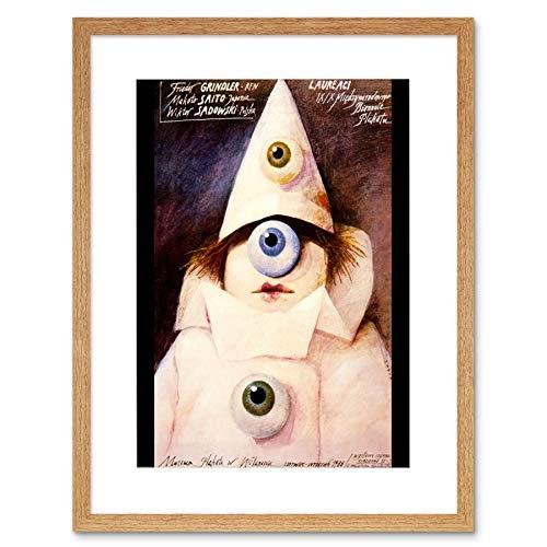 AD MUSEUM LAUREATE POLAND PIERROT CLOWN EYEBALL BLACK FRAME ART PRINT B12X3103 -