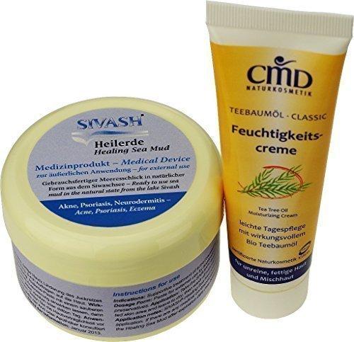 Naturset für Behandlung gegen Akne, Pickel, unreine, fettige Haut: SIVASH-Heilerde-Gesichtsmaske...