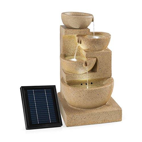 Blumfeldt korinth • fontana decorativa da giardino • funzionamento a led solare • 3 watt • posizionamento libero • 4 recipienti d'acqua con cascate • illuminazione led • ottica pietra arenaria