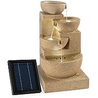 Blumfeldt Korinth Fuente de agua ornamental de jardín • Panel solar para bomba de agua • 3W de potencia • Juego de 3 niveles • Libre instalación • 4 platos para cascada • Diseño antiguo • Aspecto de arenisca • Iluminación LED • Decoración exterior
