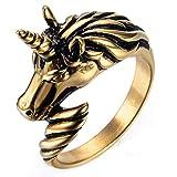 ZNKVJ Herren Titan Stahl Europäischen Und Amerikanischen Dominierenden Einhorn Ringe,Gold,Größe 59 (18.8)