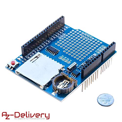 AZDelivery Módulo Data Logger Logging Shield/ Data Recorder Shield / Data Logger Shield para Arduino UNO