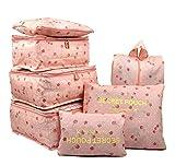 mciskin 7 Pièces Rose Cherry Étanche Sacs De Stockage De Voyage Vêtements Emballage Cube Bagages Organisateur Poche