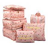 mciskin 7 piezas de color rosa cereza a prueba de agua bolsas de viaje de...