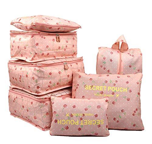 2 Stück Kirsche Schrank (mciskin 7 Stück Rosa Kirsche Wasserdichte Reise Aufbewahrungsbeutel Kleidung Verpackung Cube Gepäck Organizer Beutel)