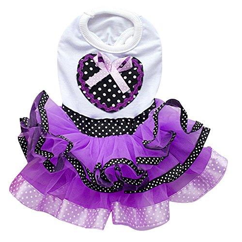 Gilroy Sweetheart Dots Gaze Schleife Tutu Kleid Hochzeit Rock Kleidung für Pet Dog Puppy Katze, XXL, Violett - Dot Kleid Pudel