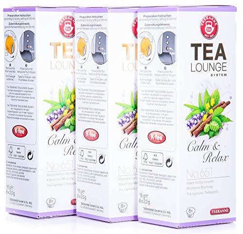 Teekanne Tealounge Kapseln - Calm and Relax No. 651 Früchtetee 3er Pack (24 Kapseln)