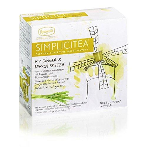 Ronnefeldt 'My Ginger & Lemon Breeze' SIMPLICITEA Kapseltee für Nespresso Maschinen - aromatisierter Kräutertee mit Ingwer- und Zitronengeschmack, 10 Kapseln, 20 g