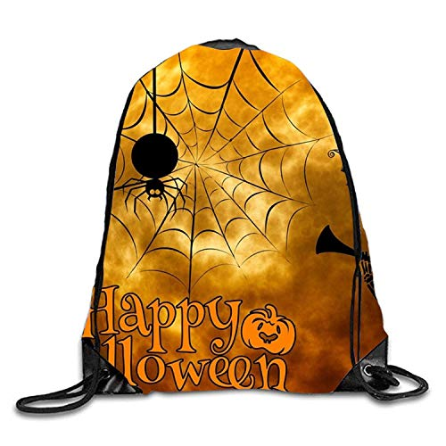 uykjuykj Tunnelzug Rucksäcke, Drawstring Gym Sport Bag Halloween Elements Fashionable Travel Bag Men Women Training Gymsack Halloween elements3 Lightweight Unique 17x14 IN