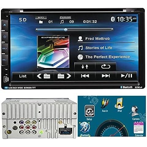 Lacaca–6.952din en Dash Car Stereo CD reproductor de DVD integrado GPS navegación por satélite Bluetooth AM/FM Radio Soporte iPod función manos libres Control Remoto Cámara de visión trasera entrada con lápiz capacitivo