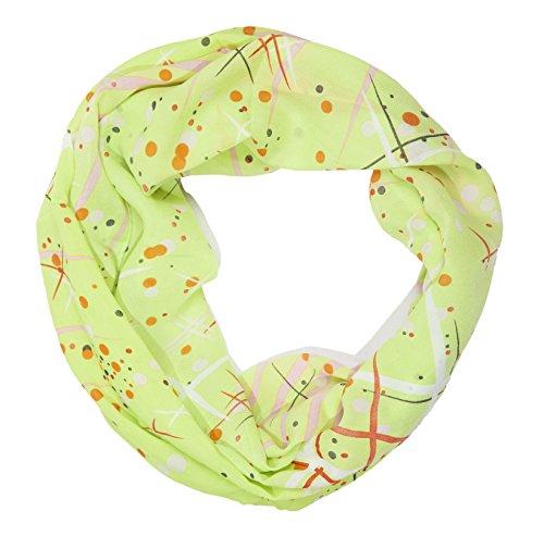 MANUMAR Loop-Schal für Damen | Hals-Tuch in gelb mit Punkte Motiv als perfektes Sommer-Accessoire | Schlauchschal | Damen-Schal | Rundschal | Geschenkidee für Frauen und Mädchen