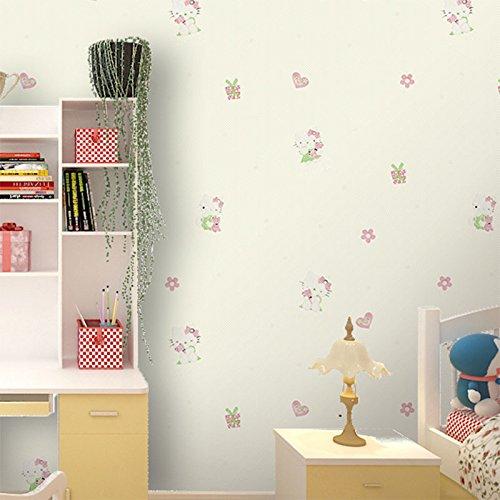 SunZhi Cartoon hellokitty Vlies Tapete Kinderzimmer süße junge Mädchen rosa Himmel blau Schlafzimmer Tapete, Hellbeige, Wallpaper nur