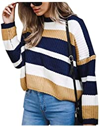 Jersey Rayas Mujer Invierno Baggy Sueter Punto Jerséis Señora Moda Sweaters  Sudadera Manga Larga Jerseys Elegantes 0796569f59e8