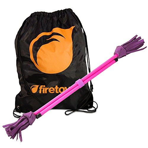 Jonglieren Dream Neo Fluoro Flowerstick Set–Pink–& Firetoys Tasche