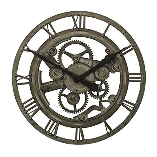 Salon Rond américain Horloge Murale Art Industrie créative rétro Nostalgie engrenage Creux Pendentif (Couleur : Nostalgic Rusty Color)