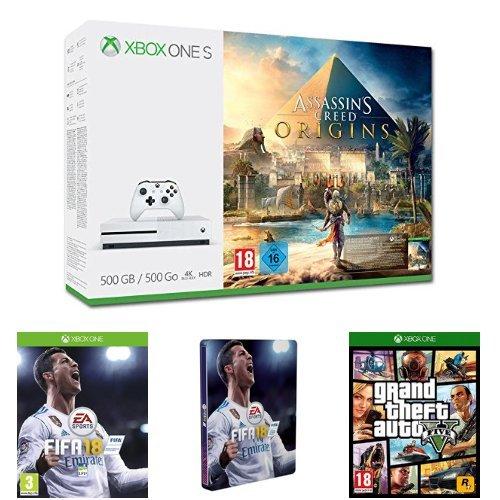 Pack Xbox One S 500 Go Assassin's Creed Origins + FIFA 18 + Steelbook FIFA 18 + GTA V