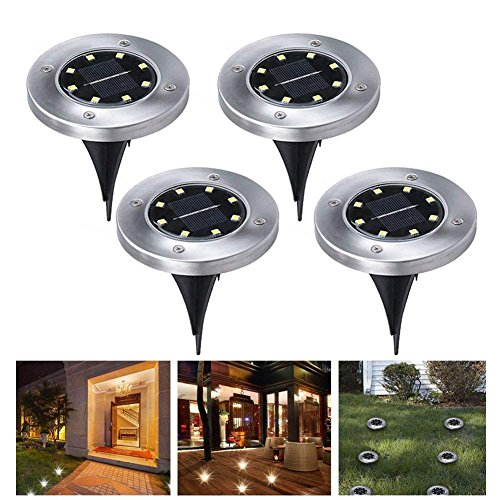 4PCS 8 construcción en LED Energía Solar Buried Ground Lights al aire...